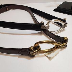 Lot of 2 Belts Dark Brown/ Black Gold/Silver Buc